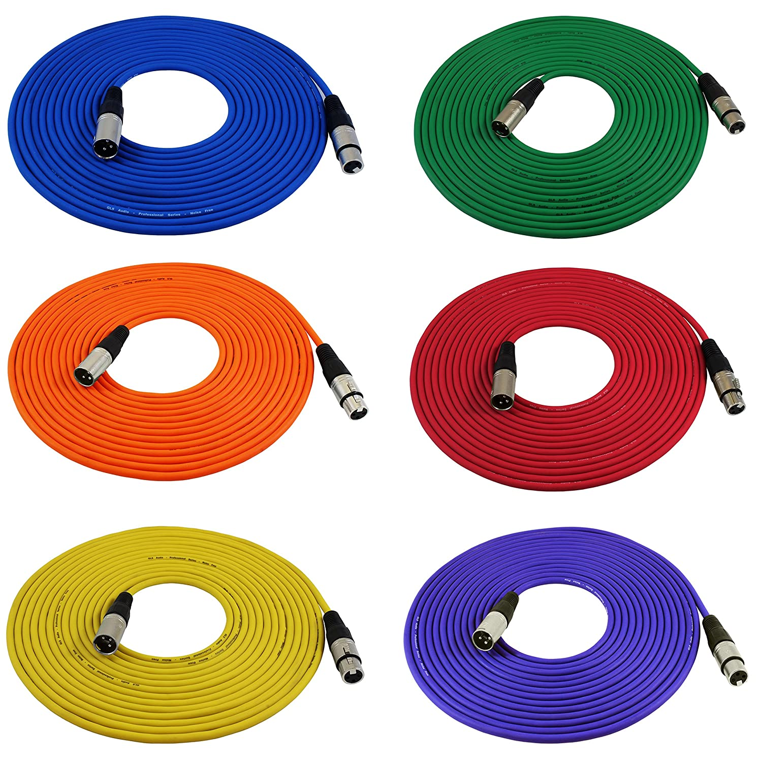 GLS Audio 25ft Mic Cable Cords - XLR Male to XLR Female Colored Cables - 25' Balanced Mike Cord - 6 PACK 6P25