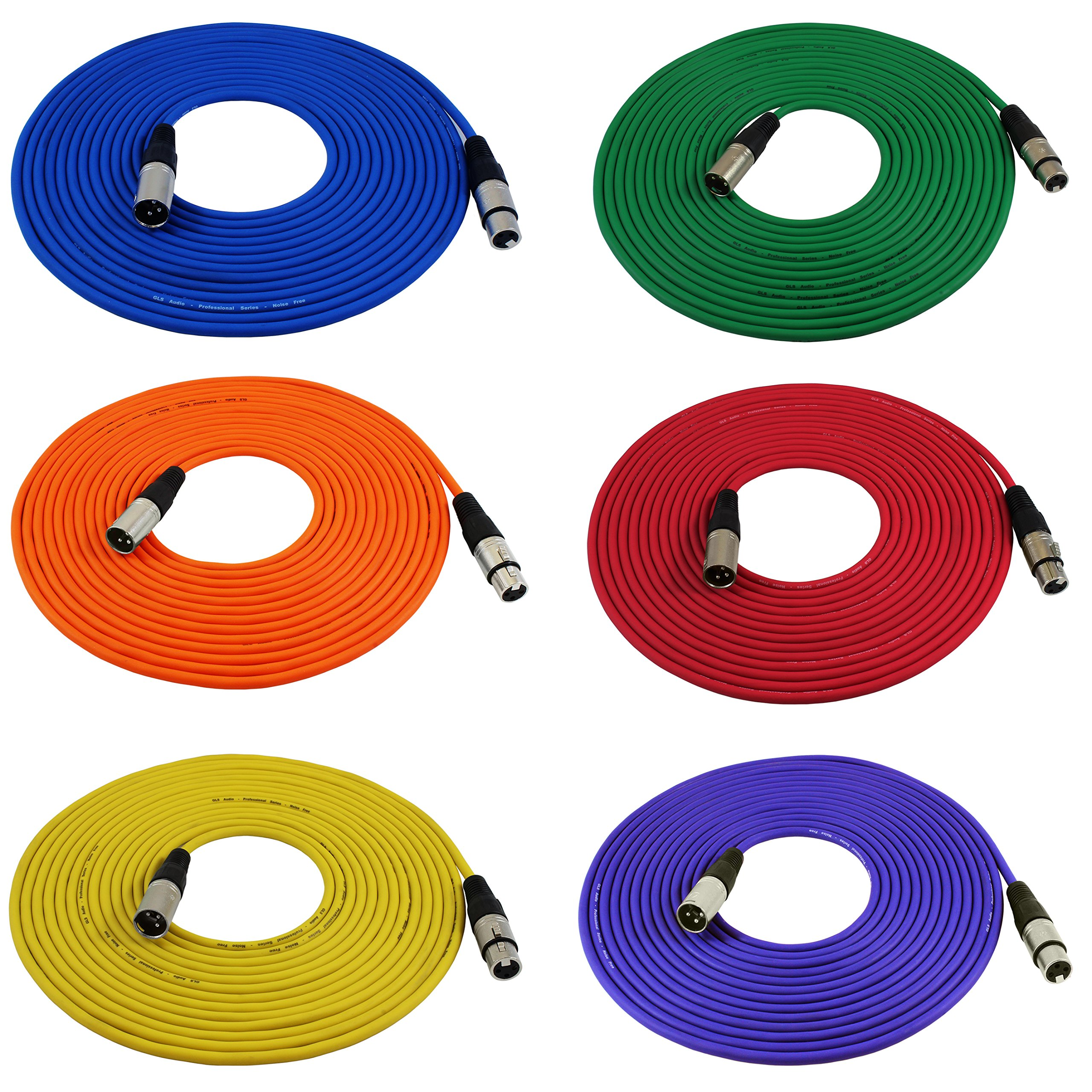 GLS Audio 25ft Mic Cable Cords - XLR Male to XLR Female Colored Cables - 25' Balanced Mike Cord - 6 PACK by GLS Audio