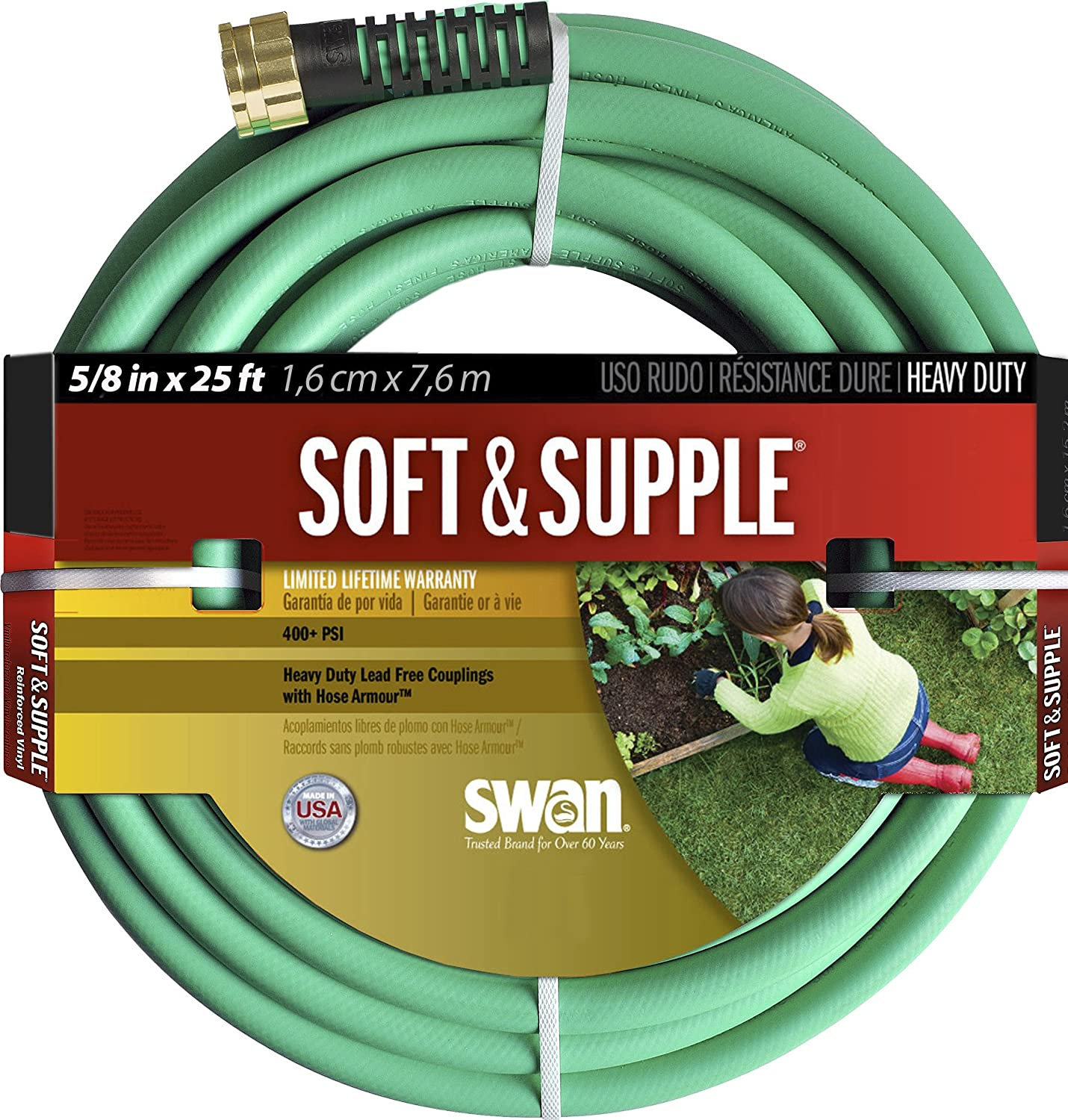 Swan Products SNSS58025 Soft & Supple Easy Coil Water Hose with Crush Proof Couplings 25' x 5/8
