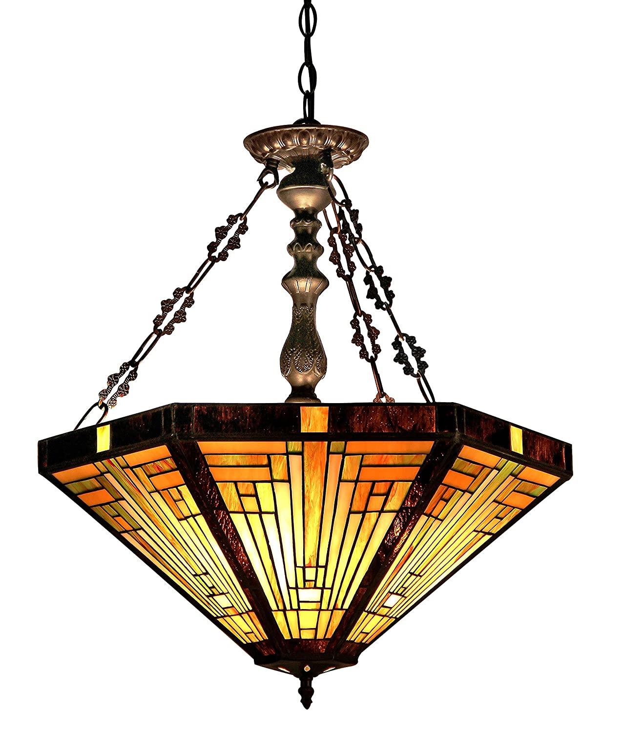"Chloe Lighting CH33359MR22-UH3 Innes Tiffany-Style Mission 3-Light Inverted Ceiling Pendant with Fixture with Shade, 24.3 x 21.7 x 21.7"", Bronze"