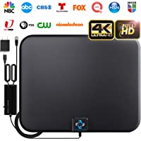 [2020 Latest] Amplified HD Digital TV Antenna Long 180 Miles Range - Support 4K 1080p Fire tv Stick and All Older TV's - Indoor Smart Switch Amplifier Signal Booster - 18ft Coax HDTV Cable/AC Adapter