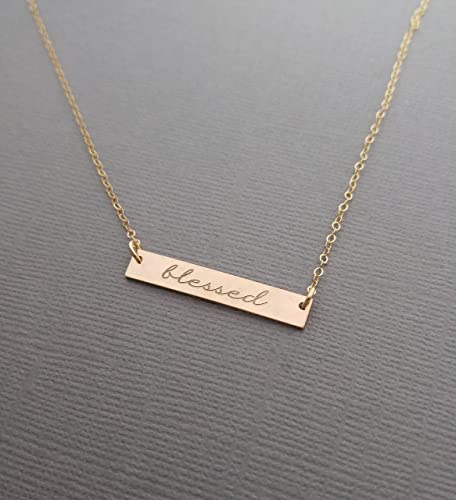 Amazoncom Blessed Necklace Gold Bar Necklace Hand Stamped
