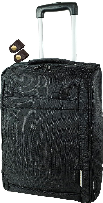 ソフト キャリーバッグ 折畳み可能 男女兼用 機内持込可能 + [タケハチ] 竹八謹製 [牛革製ケーブルバンド2個] セット tm0460 B076GQQGFX ブラック1 ブラック1