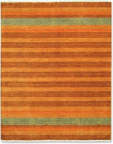 Gabbeh Striped Orange, Light Brown, Grey Wool Area Rug 5 x 7
