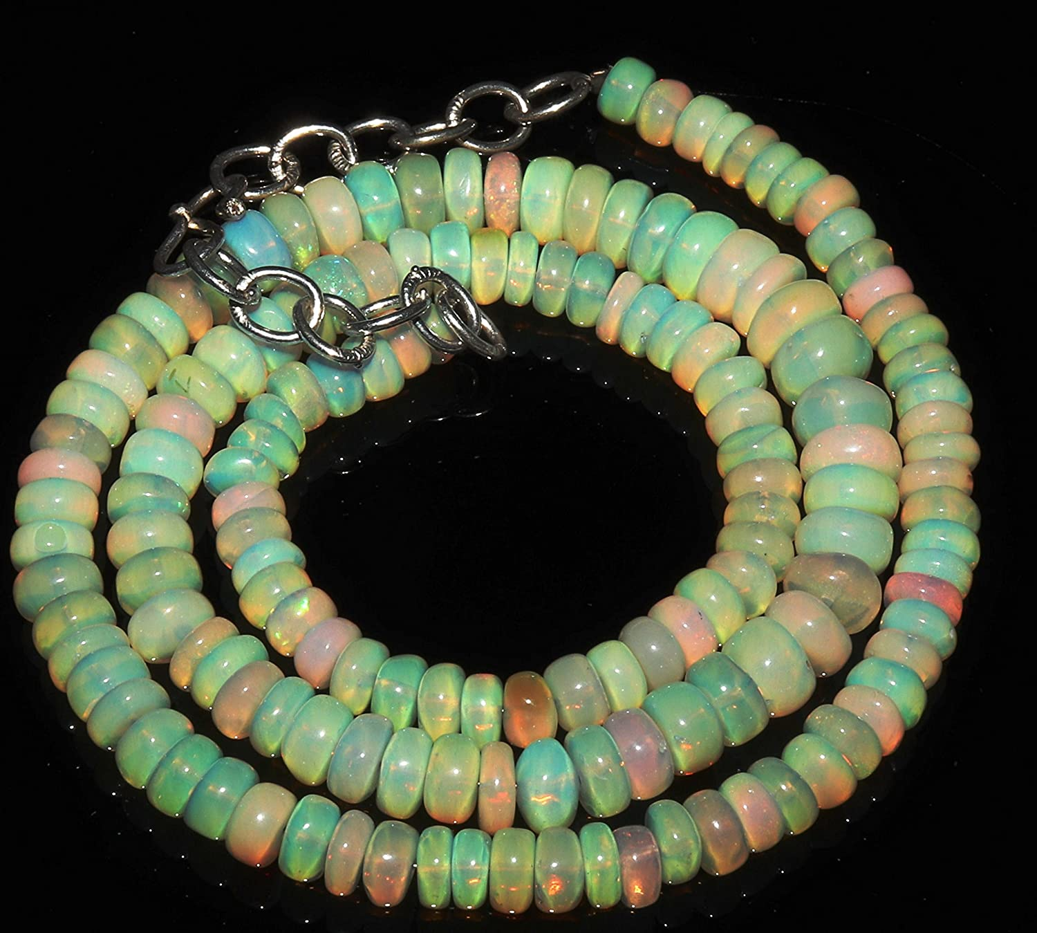 Natural Jewels Stone Handmade 80 Carat 1Necklace 5 to 7 mm 16 Roundell Beads Genuine Ethiopian Fire Opal Necklace F808