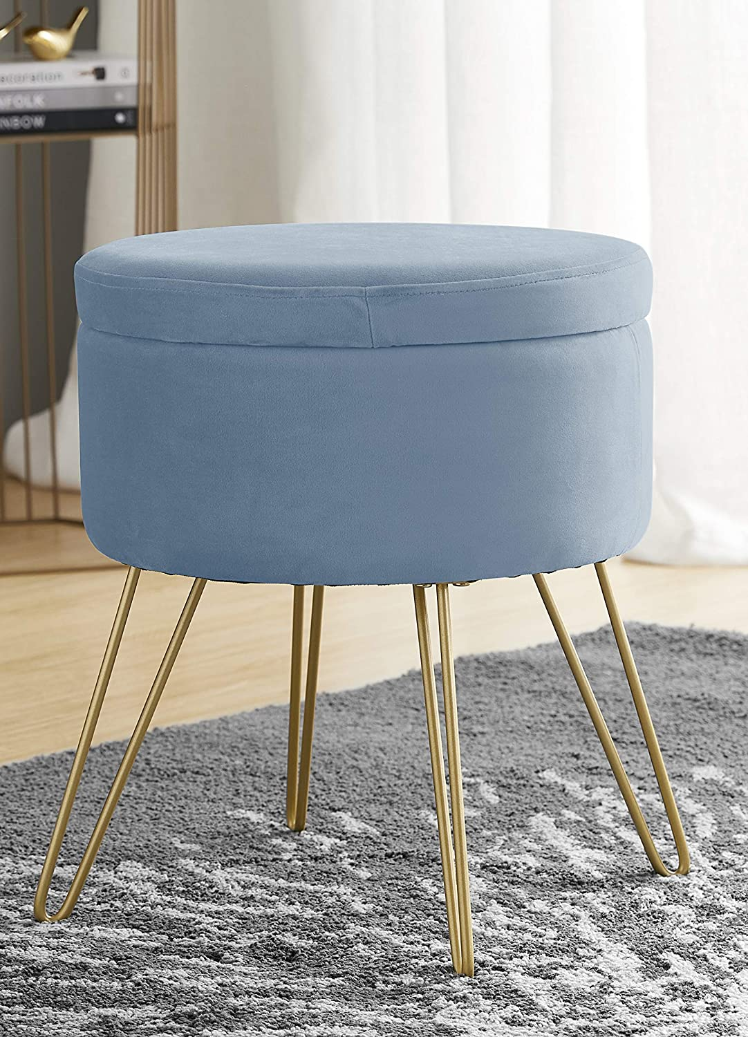 Ornavo Home Modern Round Velvet Storage Ottoman Foot Rest Stool/Seat with Gold Metal Legs & Tray Top Coffee Table - Dusty Blue