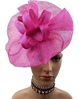 0198cf67996 ABPF Big Round Bow Eye Catching Sinamay Fascinator Headband Hats Racing  Derby Hat Hot Pink