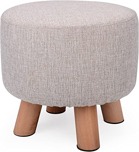 H B Luxuries Fabric Round Padded Ottoman Foot Rest Stool 4 Legs-Simple Linen