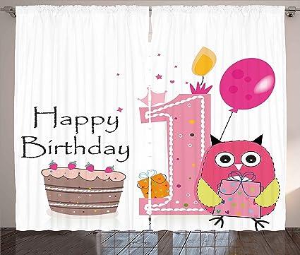 Surprising 1St Birthday Decorations Curtains By Ambesonne First Birthday Funny Birthday Cards Online Amentibdeldamsfinfo