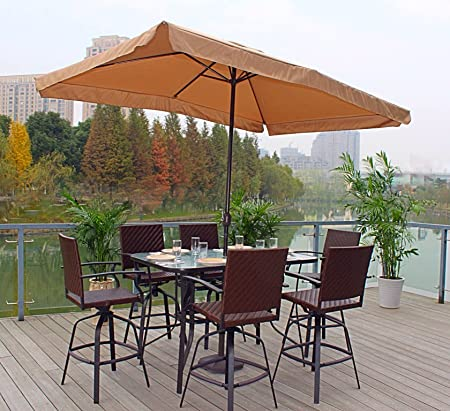 Pebble Lane Living All Weather Rust Proof Indoor Outdoor 7pc Powder Coated Patio Bar Dining Set Free Umbrella , 1 Tempered Glass Top Bar Dining Table, 6 Wicker Bar Stools Umbrella, Brown Mocha