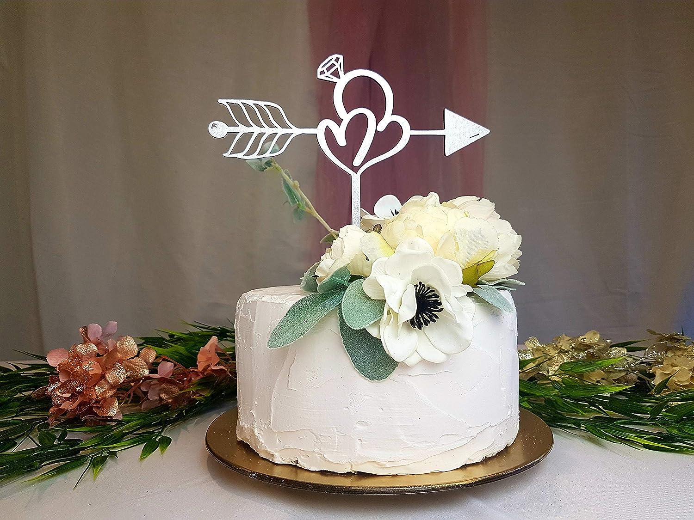 Amazon Com 659parkerrob Silver Wedding Shower Cake Topper