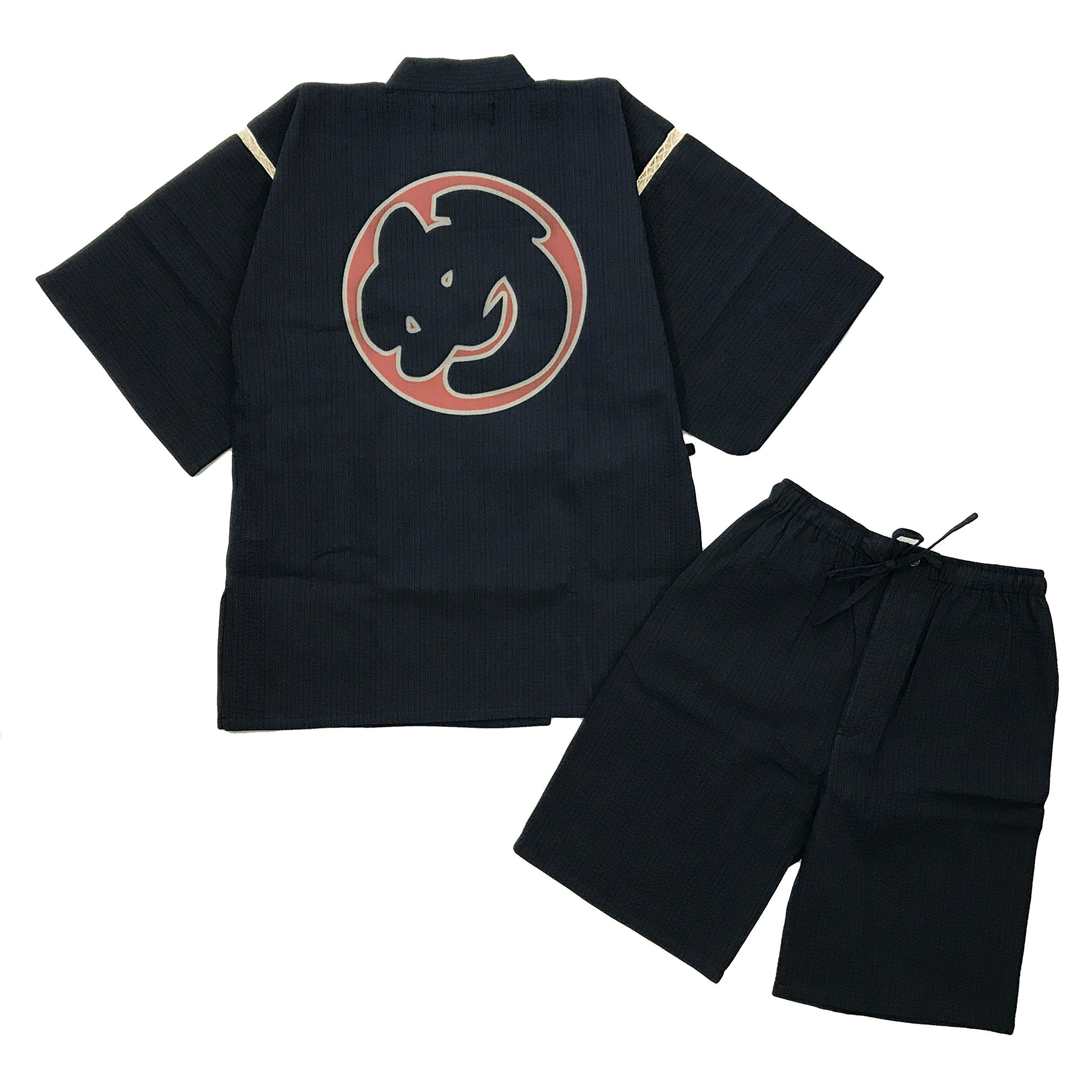 Edoten Original discharge style Cotton 100% Kimono Jimbei 705 XXL Navy Hikeshi firefighter