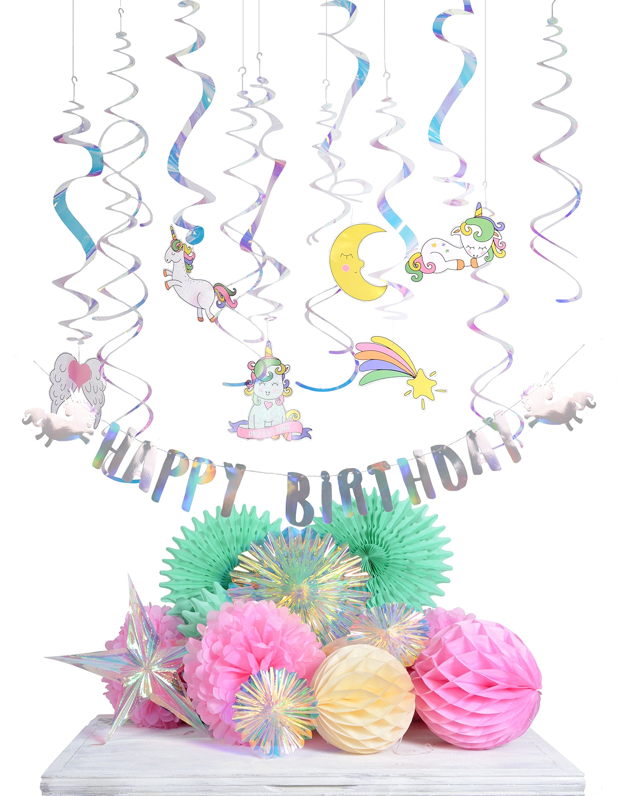 Paper Jazz Unicorn Theme Party Decoration Supplies Pack Banner Swirl for Girl Birthday Party Baby Shower (KIT)