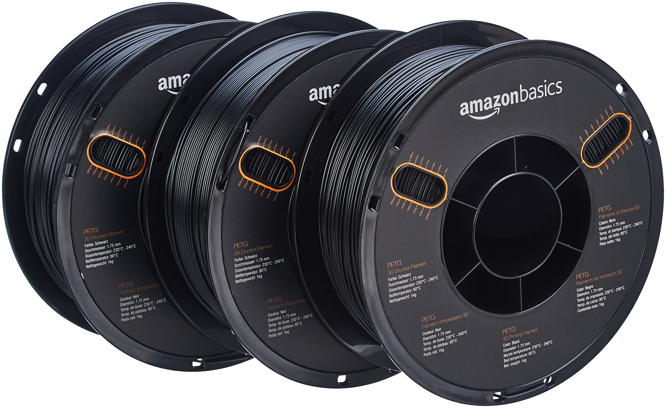AmazonBasics PETG 3D Printer Filament, 1.75mm, Black, 1 kg Spool, 3 Spools by AmazonBasics