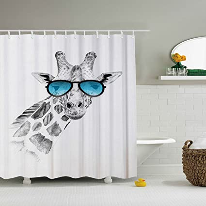 ZBLX Funny Giraffe Shower Curtain On Glasses Waterproof Mildew Resistant Fabric Polyester 100