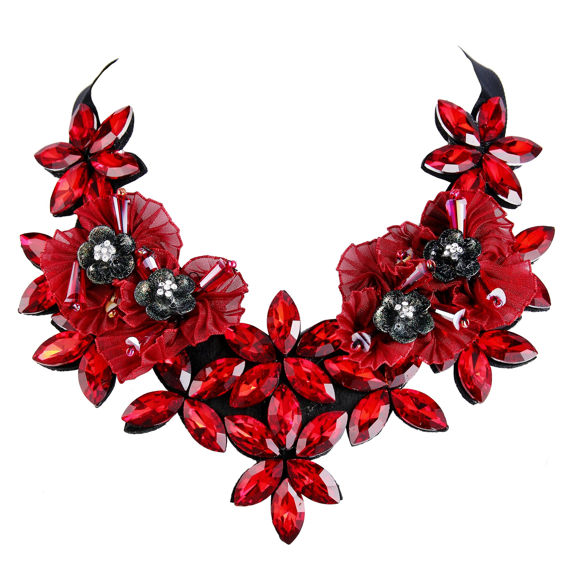 BriLove Statement Necklace for Women Wedding Bridal Crystal Multi Marquise Flower Lace Ribbon Necklace Ruby Color