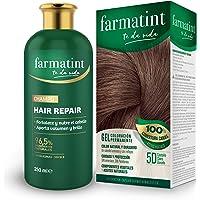 Farmatint Tinte permanente 5D Castaño Claro Dorado + Champú, 96.5% ingredientes naturales, fortalece y nutre el cabello…