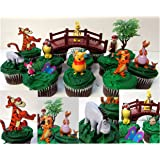 """DISNEY WINNIE THE POOH 16 Piece Birthday CUPCAKE Topper Set Featuring Winnie the Pooh, Piglet, Eeyore, Kanga, Roo, Tigger, Owl, Rabbit and Christopher Robin, Themed Decorative Accessories, Figures Average 1/2"""" to 2 1/2"""" Tall"""
