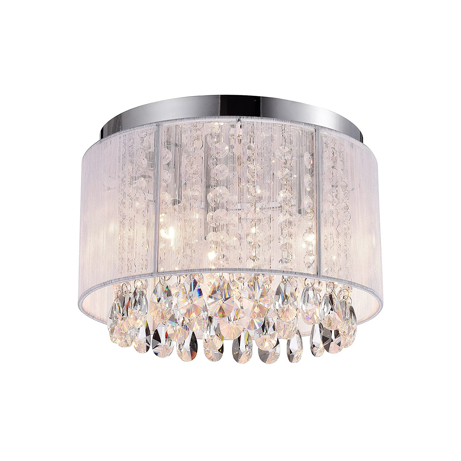 Chandeliers Crystal Ceiling Light Fixtures White Flush Mount Chandelier 3 Light Crystal Chandelier Lighting