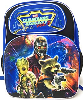 Marvel Guardians Of The Galaxy Vol 2, 3D Deluxe 16' Backpack. Features Star Lord, Groot and Rocket. Canvas Backpack with 2 Extra Front Pockets & Embroidered Writing, Padded Back and Shoulder Straps - Top Quality You Can See