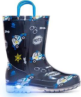 9301fd937268 MOFEVER Toddler Kids Light Up Rain Boots