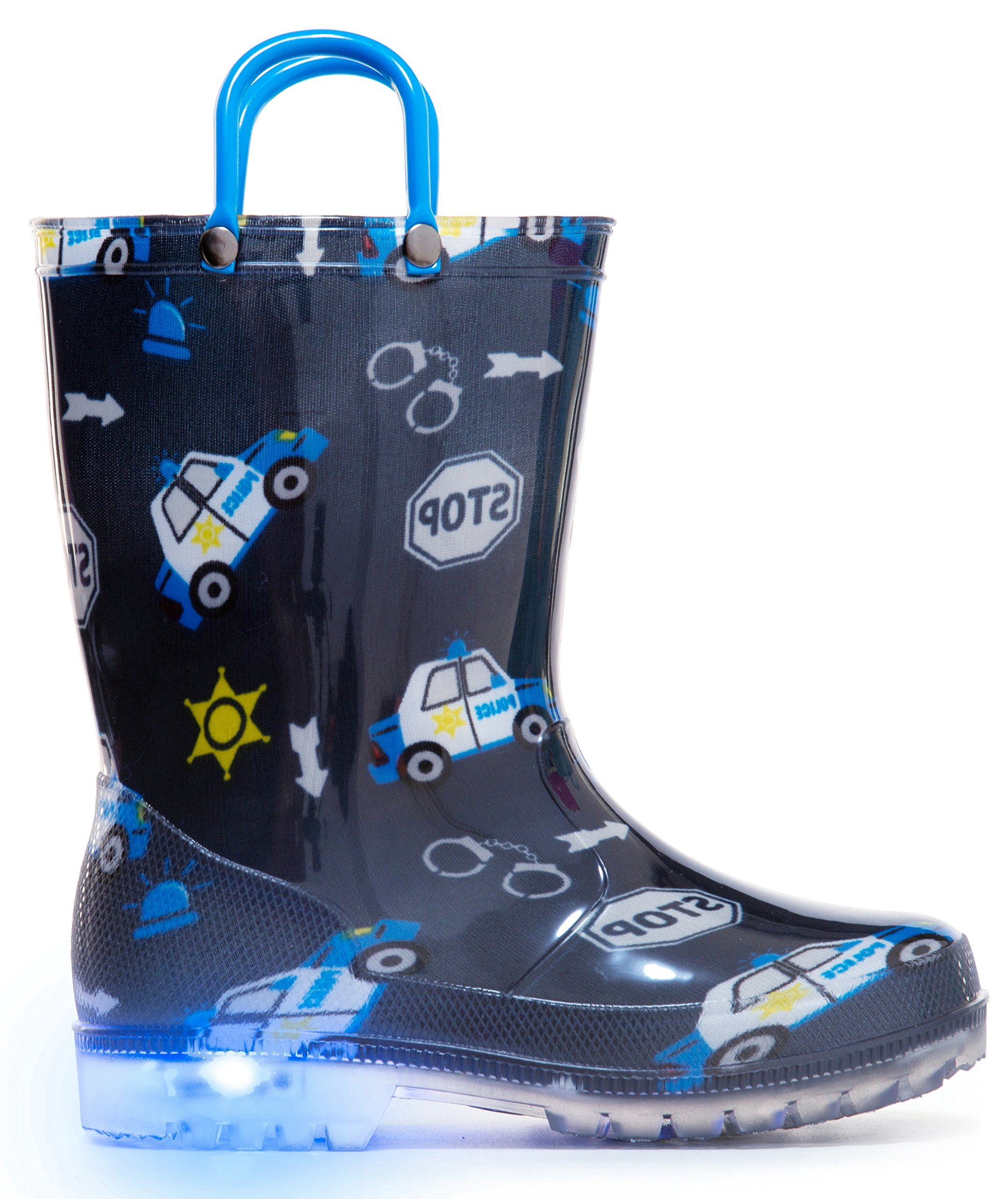 MOFEVER Kids Toddler Boys Light up Rain Boots Waterproof Shoes Navy Cars Print Lightweight Cute Lovely Funny Print with Easy-On Handles (Size 12,Navy)