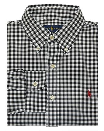 0c8df93f072 Polo Ralph Lauren Mens Button Down Dress Shirt Gingham Plaid Black White  Small