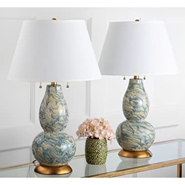 Safavieh Lighting Collection Color Swirls Blue and White 28.5-inch Table Lamp (Set of 2)