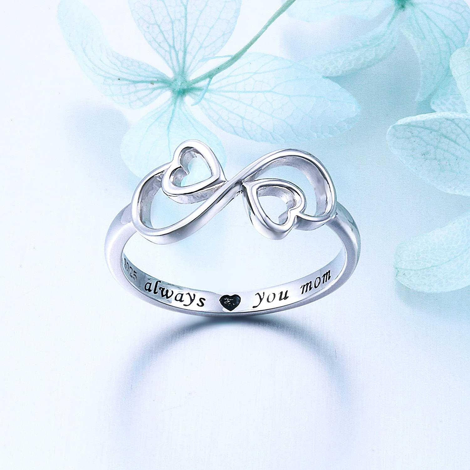 Sterling Silver Engraved Always Love You Mom Mother Daughter Forever Ring Size 5-10