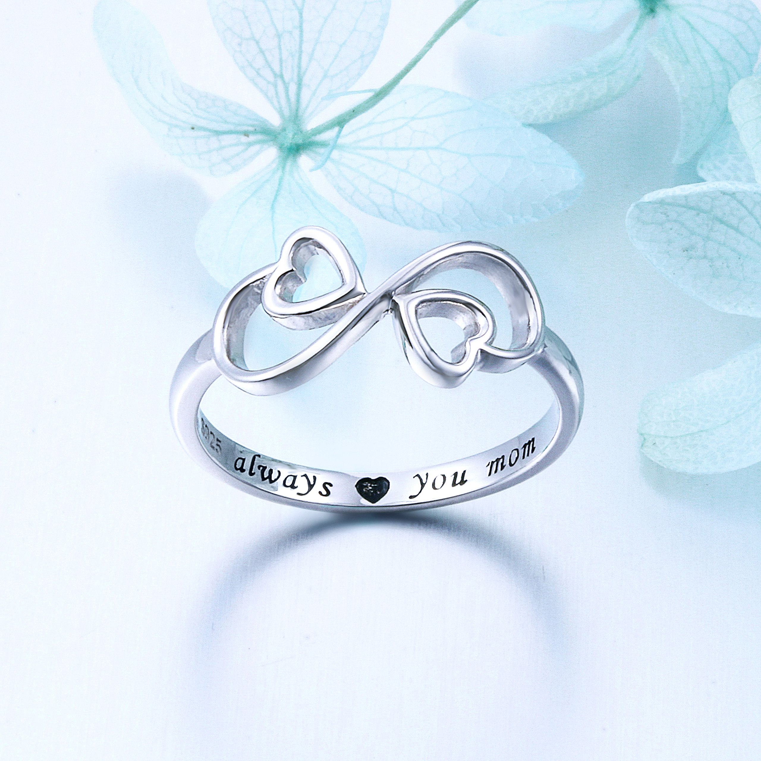 Flyow Sterling Silver Engraved Always Love You Mom Mother Daughter Forever Ring, Mother's Day Gift, Size 6-8 (7) by Flyow (Image #4)