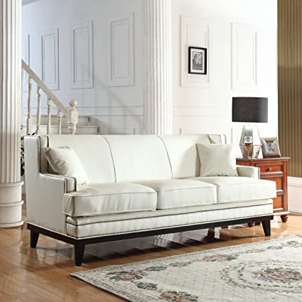 Marvelous Divano Roma Furniture Modern Bonded Leather Sofa With Nailhead Trim Detail  (White)