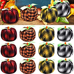 12 Pieces Thanksgiving Decorations DIY Pumpkins Fabric Plaid Toilet Paper Artificial Vegetables and Green Ribbon for Fall Decorations Home Kitchen Classroom Farmhouse Porch Halloween