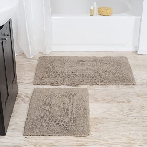 Bedford Home 100 Cotton 2 Piece Reversible Rug Set – Taupe