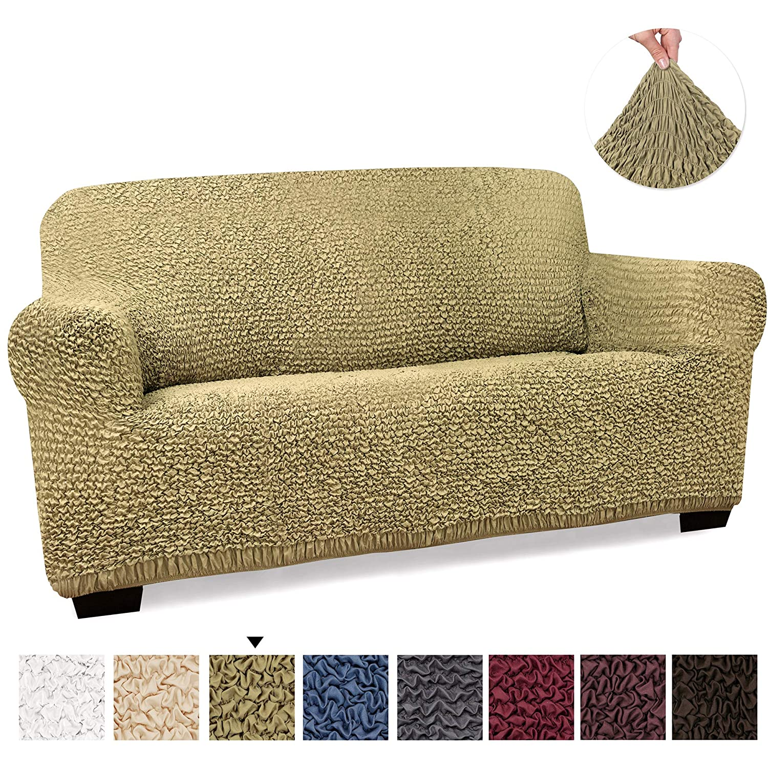 Loveseat Cover - Loveseat Slipcovers - Loveseat Couch Covers - Soft Polyester Fabric Slipcovers - 1-piece Form Fit Stretch Stylish Furniture Cover - ...