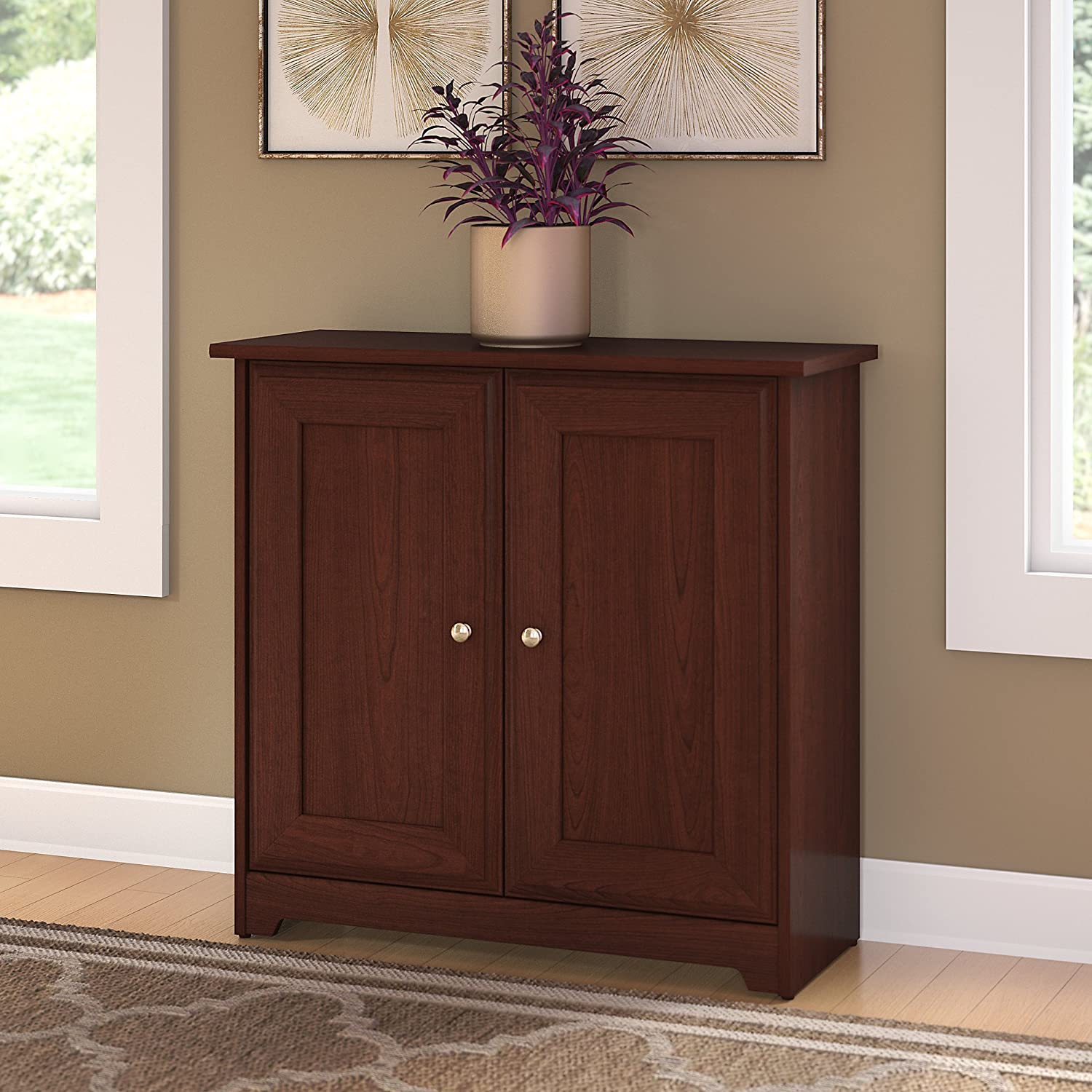Amazoncom Bush Furniture Cabot Small Storage Cabinet With Doors In