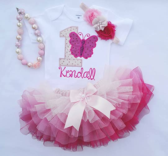 8566873c6f8e Amazon.com: First Birthday Outfit Girl,Butterfly birthday outfit,Girls Cake  smash Outfit,Girls 1st Birthday dress,Pink ombre tutu,one year old birthday:  ...
