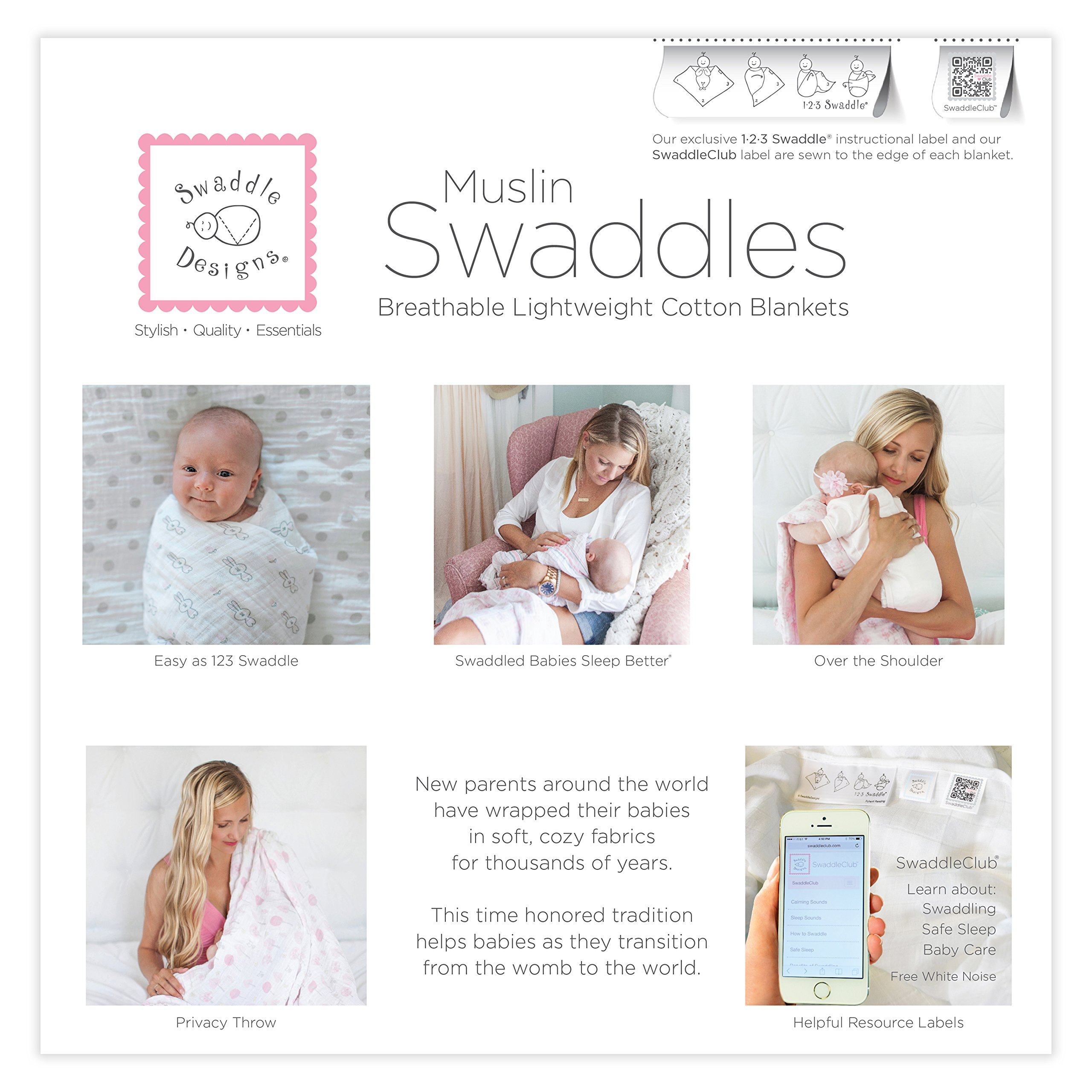 SwaddleDesigns Cotton Muslin Swaddle Blankets, Set of 4, Pink Heavenly Floral by SwaddleDesigns (Image #8)
