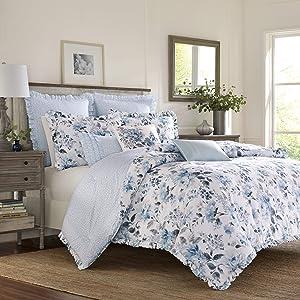 Laura Ashley Chloe Comforter Set, Full/Queen, Pastel Blue