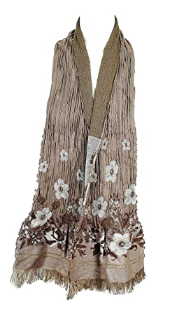 6006e87f749c Madame Dutilleul - Echarpe Fleurs marron glacé  Amazon.fr  Vêtements ...