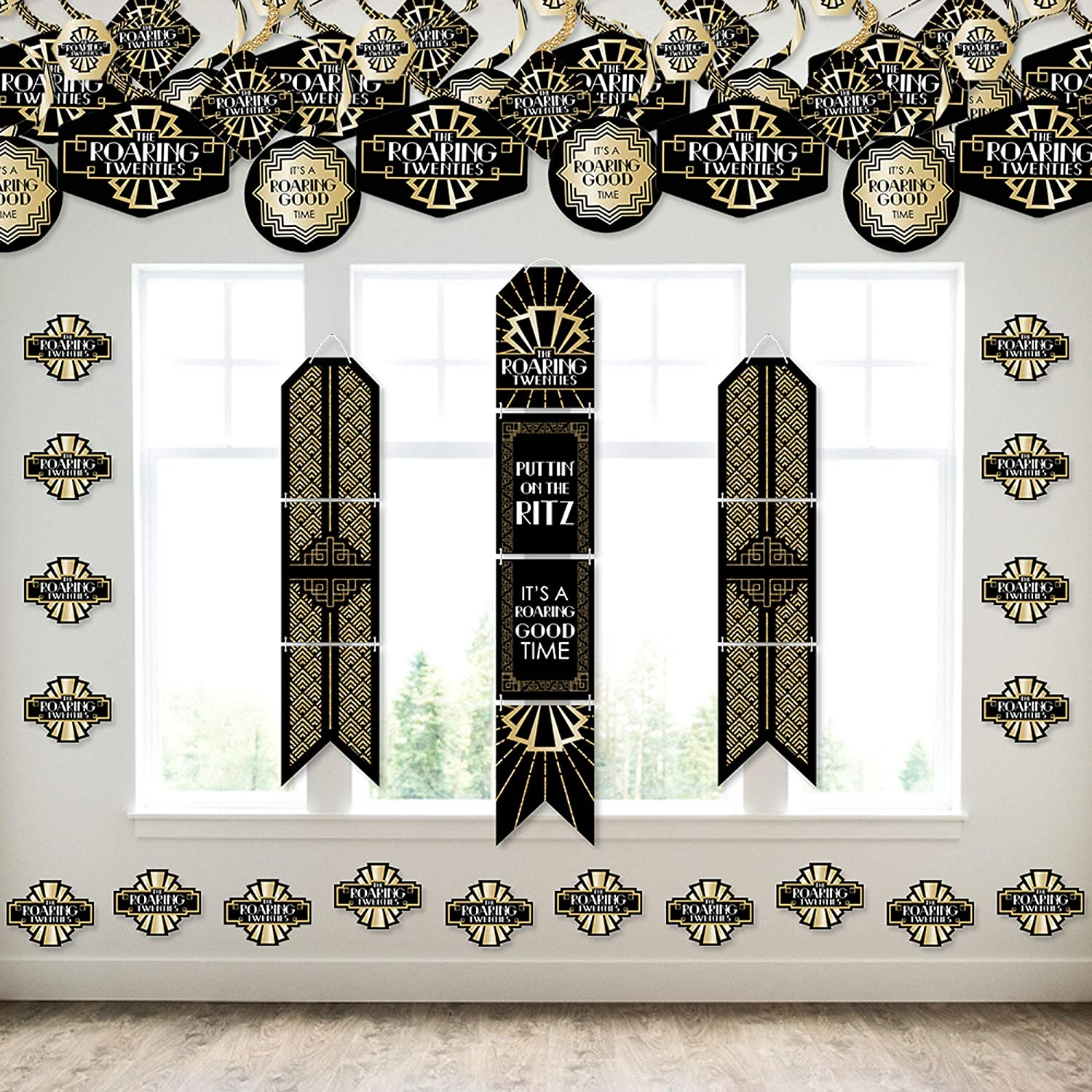 Big Dot of Happiness Roaring 20's - Wall and Door Hanging Decor - 1920s Art Deco Jazz Party Room Decoration Kit