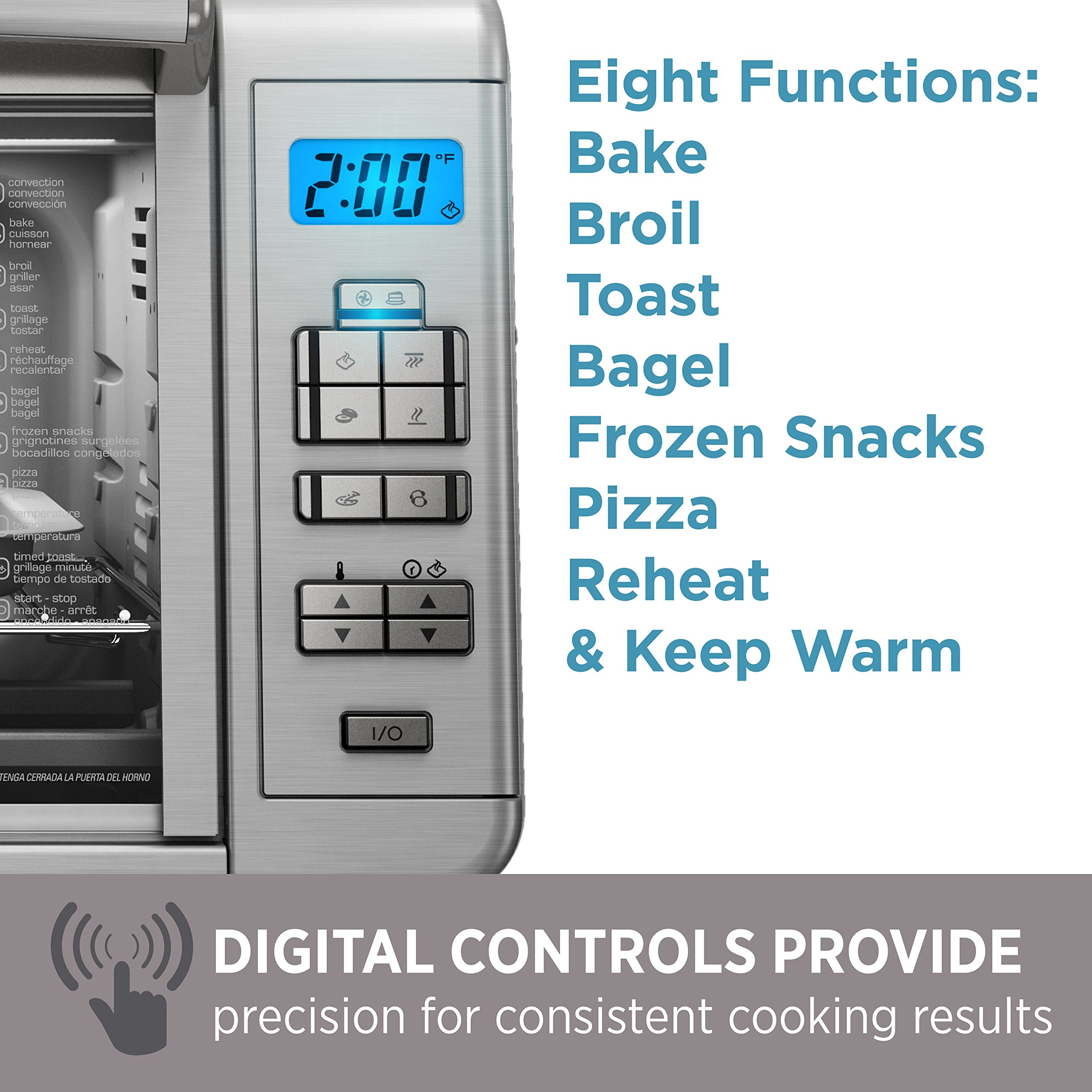 BLACK+DECKER 6-Slice Digital Convection Countertop Toaster Oven, Stainless Steel, TO3280SSD by BLACK+DECKER (Image #7)