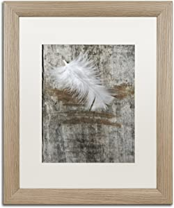 White Matte Birch Frame Feather on Wood Wall Decor by Cora Niele, 16