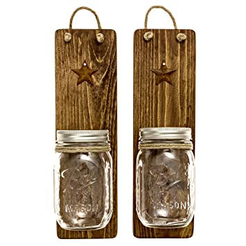 heartful home decor ball mason jar wall sconces primitive country set of 2 - Candles Home Decor
