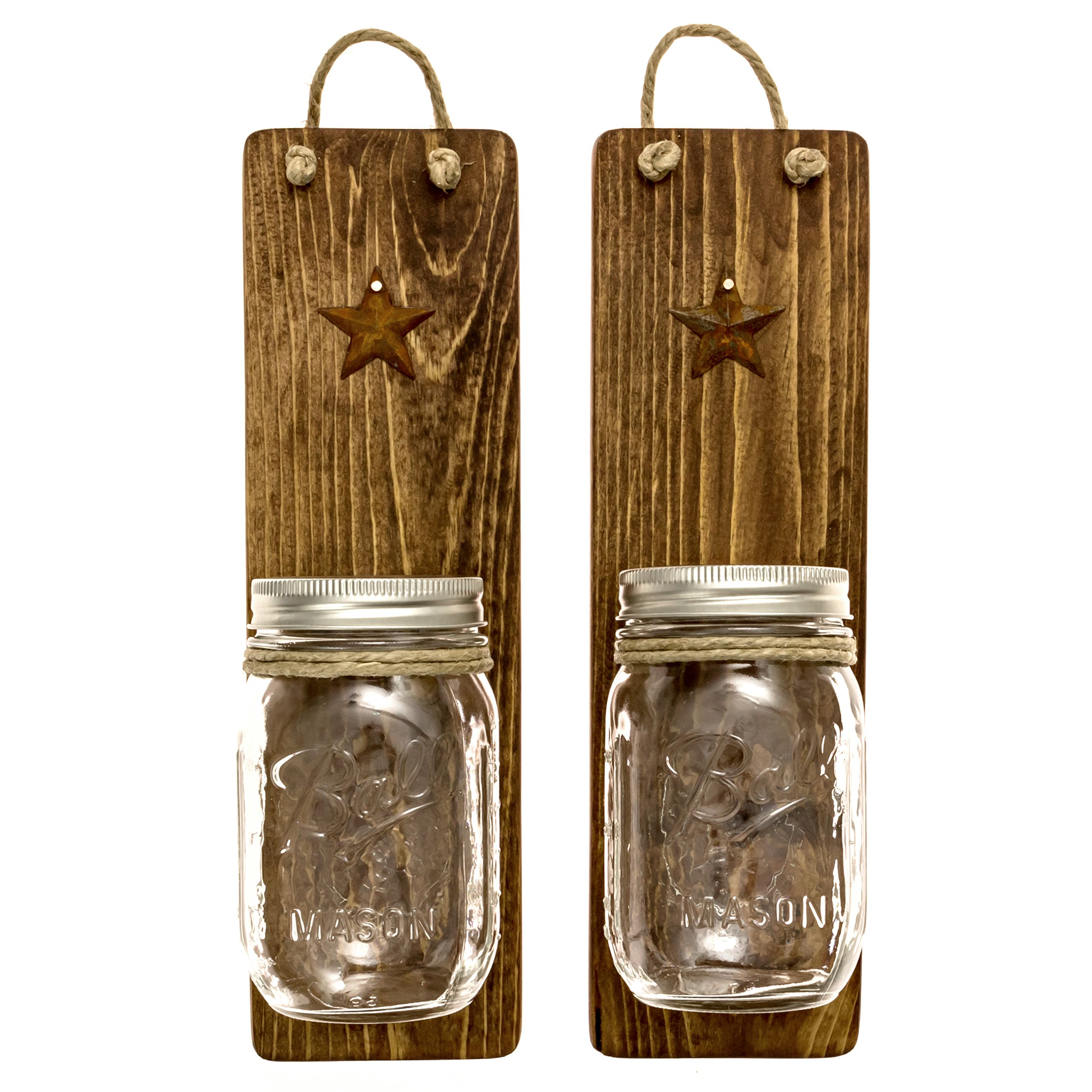 Heartful Home Decor Ball Mason Jar Wall Sconces - Primitive Country- Set of 2 - Perfect for Candles, Flowers, or Anything You Like to Showcase, Top Rustic Housewarming Gift (Honey)