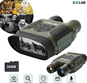 "ESSLNB Night Vision Binoculars 400m/1300ft for 100% Full Darkness 7x31mm Night Vision Goggles with 32G TF Card and Photos Videos Recorder Function 2"" LCD Infrared Binoculars with Night Vision"