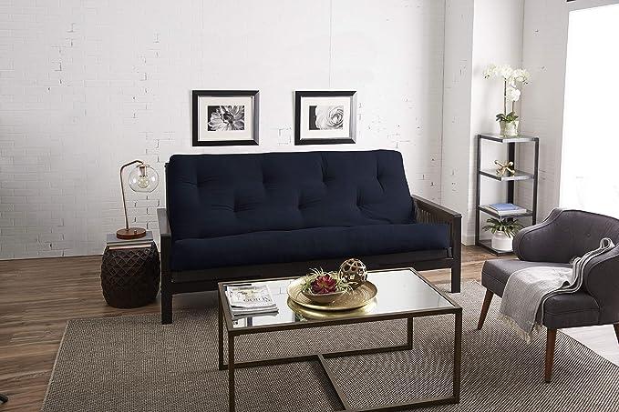 Blue Mozaic Queen Size 8-Inch Cotton Twill Gel Dual Memory Foam Futon Mattress