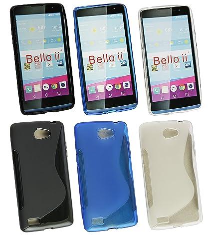 Emartbuy® LG L Bello II/LG L Bello 2 Ultrafina a Presión TPU Gel Funda Carcasa Case Cover Paquete de 3 - Azul, Clear & Black