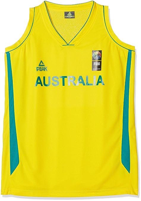 Peak Sport Europe Baloncesto Australia Camiseta, Unisex, Color Amarillo, tamaño Small