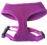 FUNPET Soft Mesh Dog Harness No Pull Comfort Padded Vest for Small Pet Cat and Puppy Purple S