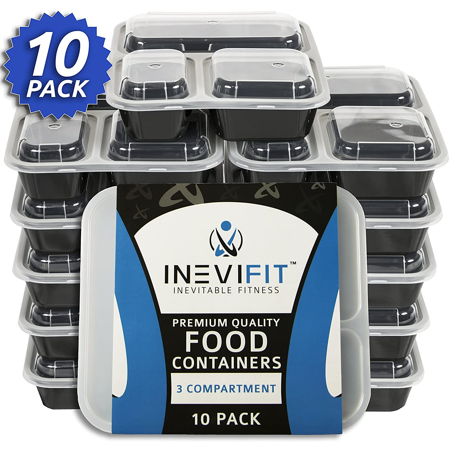 INEVIFIT Meal Prep 3 Compartment BPA FREE, Premium Food Storage Containers, Durable & Reusable, 36 oz. Stackable 10 Pack, Microwaveable & Dishwasher Safe Bento Lunch Box with Leak Resistant Technology I-MP003